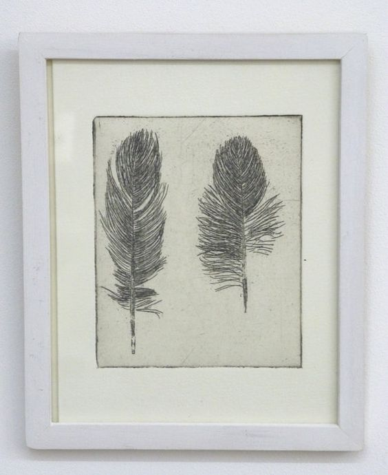 Original Etching of a featherhand pulled by Fleurografie on Etsy