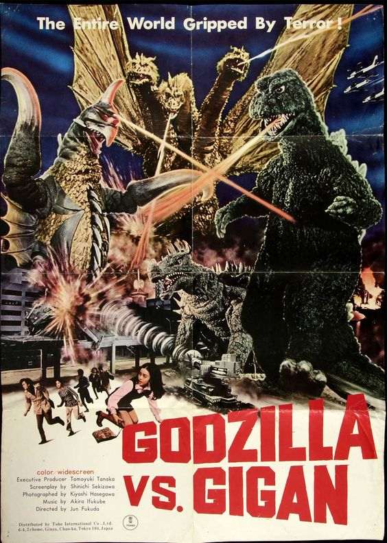 "VINTAGE GODZILLA VS MEGALON #2 MOVIE POSTER 12/"" X 18/"""