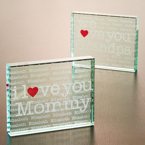 I/We Heart 2 Sided Glass Block -  Use any title (Mom, Grandma, Nana, etc).  The kids' names are engraved in a repeating fashion throughout the block.