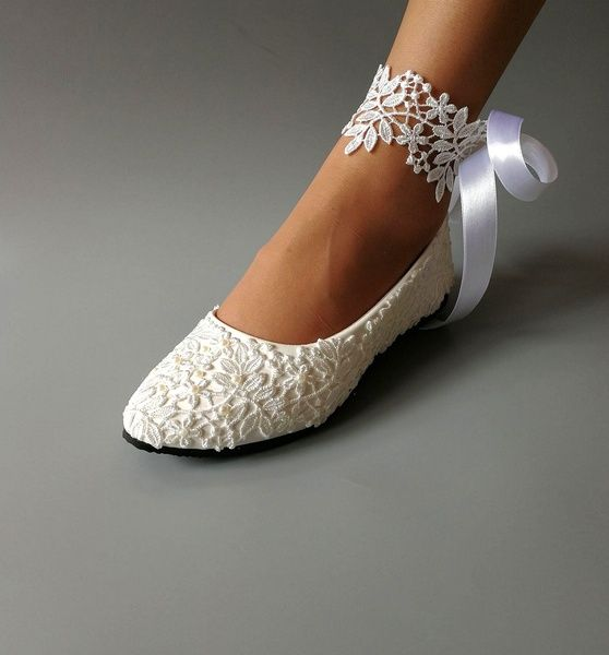 Handmade Lace Wedding Shoes White Wedding Wedges Ankle Strips Pearl Wedding Shoes Lace Bridal Shoes for BridalBridesmaid Bridal Shoes
