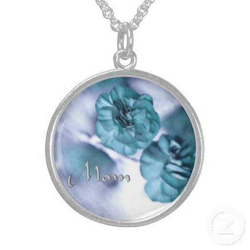Blue Dream Flowers  MoM in Silver Design Necklace