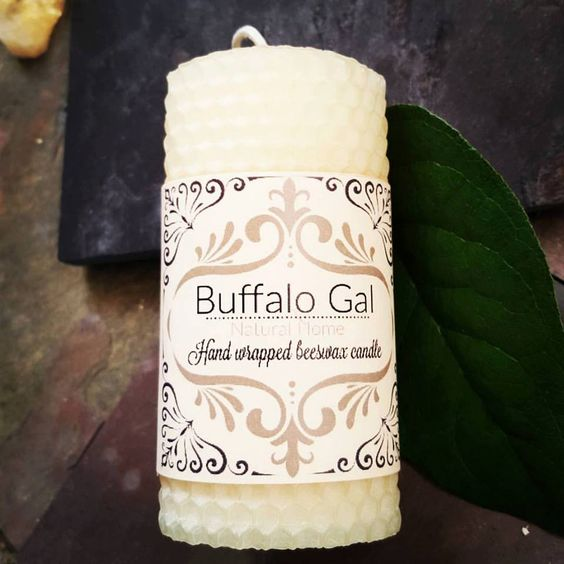 CREAM  hand wrapped Beeswax Candle // Unscented // Buffalo Gal Home Collection by BuffaloGalOrganics on Etsy