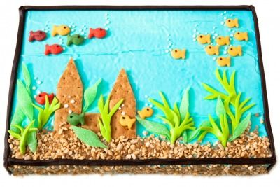 Nothing's fishy about this easy-to-make, colorful fish tank cake.