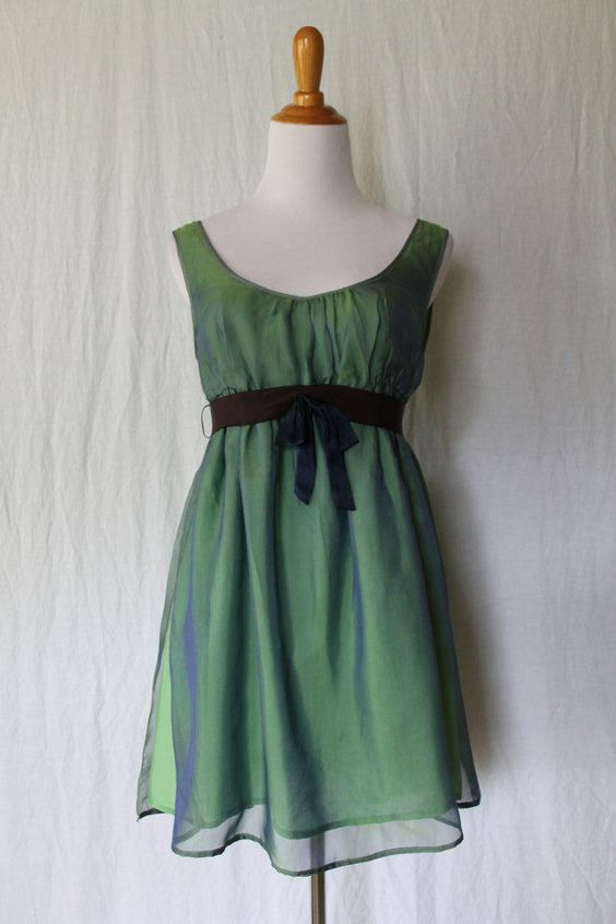 Vintage WYATH by TOD Magill Iridescent Emerald Green Silk & cotton Fairy…