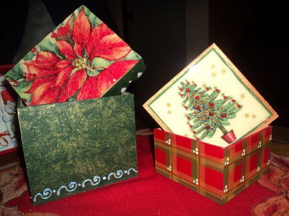 Cajas de madera listas para el regalo de navidad con - Cajas de madera para regalo ...