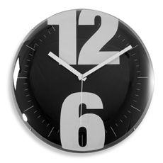 "Black and White Dome 15"" Clock"