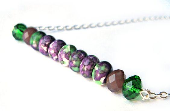 Purple necklace, green necklace - Stick necklace, bundle, line - Dyed stone, glass gems - Marble, tye dye necklace