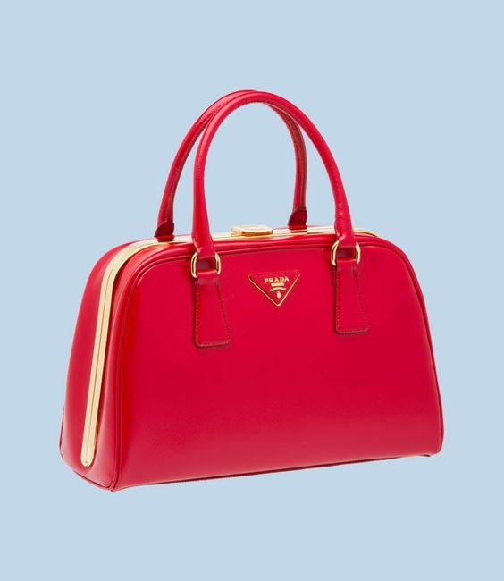 prada galleria bag - PRADA RED SAFFIANO PATENT BAG DOUBLE HANDLE GOLD-PLATED HARDWARE ...