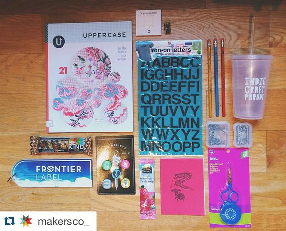 Excited for this weekend!! See you all there! #Repost @makersco_ with @repostapp.  We love our #indiecraftparade makers and we do our best to treat them right. Here's just a few of the goodies in their welcome bags donated by some awesome folks. // @uppercasemag @dritz_sewing @mailchimp @bigcartel @square @wholefoods @kindsnacks @frontierlabel