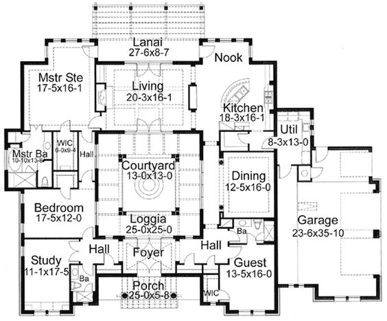 Courtyards courtyard house and house plans on pinterest Spanish style house plans with central courtyard