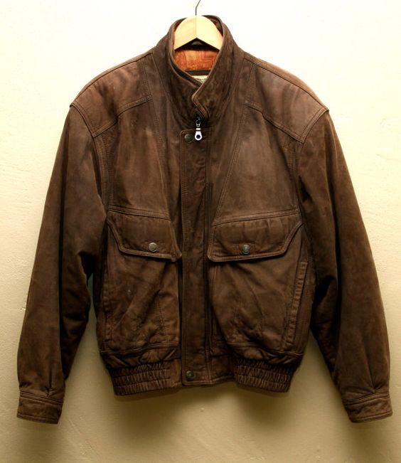 Men's Vintage Brown Leather Bomber Jacket - Flight Jacket Vintage ...