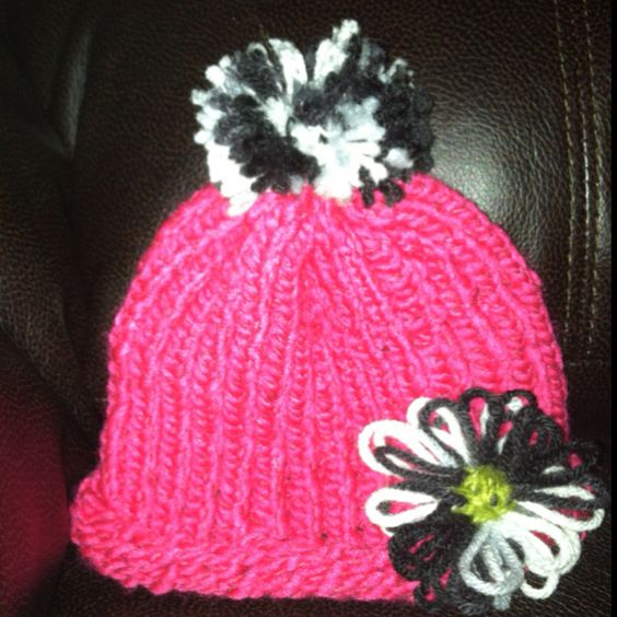 Knitting Flowers On A Loom : Loom knitted hat with flower my own creations