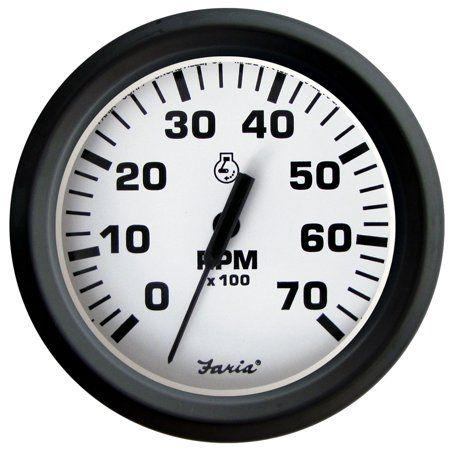 Faria Euro 4 Inch Gauge 7000rpm Tachometer All Outboard White Clock Ebay Euro