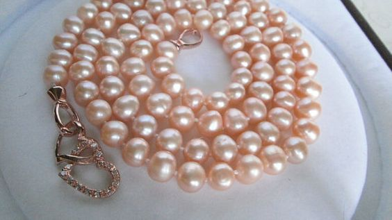 Free Shop Usa, 33inch, Natural Pearl Necklace, Peach Freshwater Cultured Pearl Necklace Set,   Rose Gold, Hand Knotted. on Etsy, $79.59 CAD