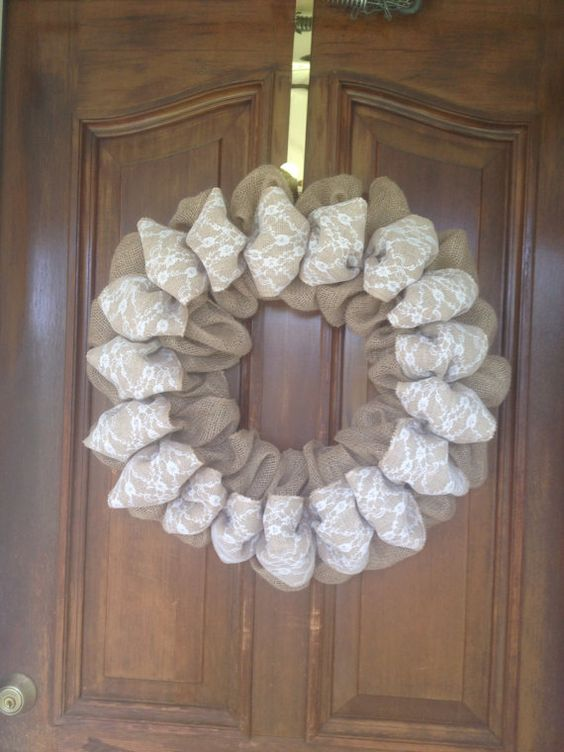 Fancy Burlap and Lace Wreath by Forest Edge Boutique. on Etsy, $47.00
