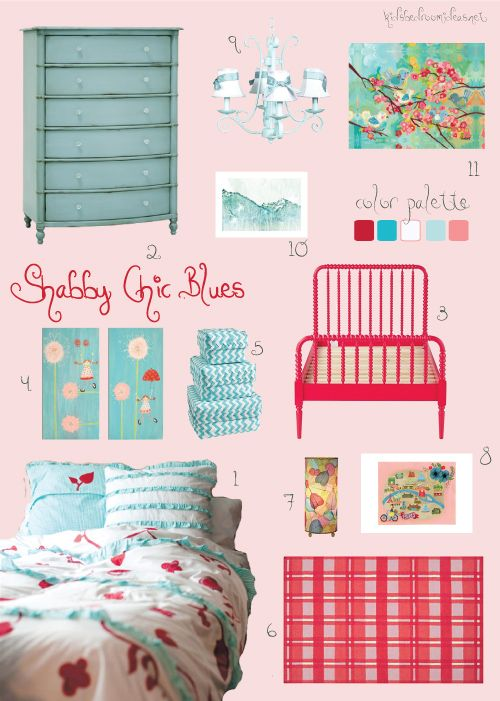 Inspiration Board For A Shabby Chic Bedroom In Raspberry Coral And Aqua