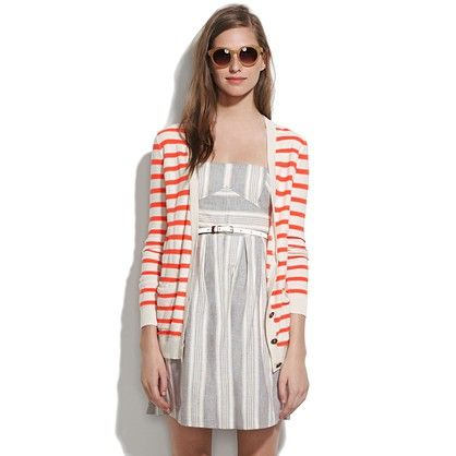 Love the striped cardigan with the grey dress.