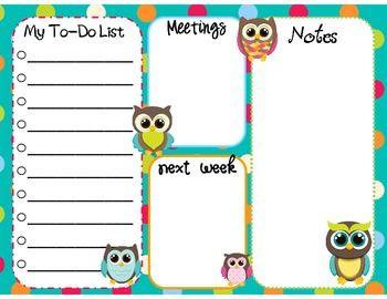 free---Teacher To-do List (Dots & Owls)