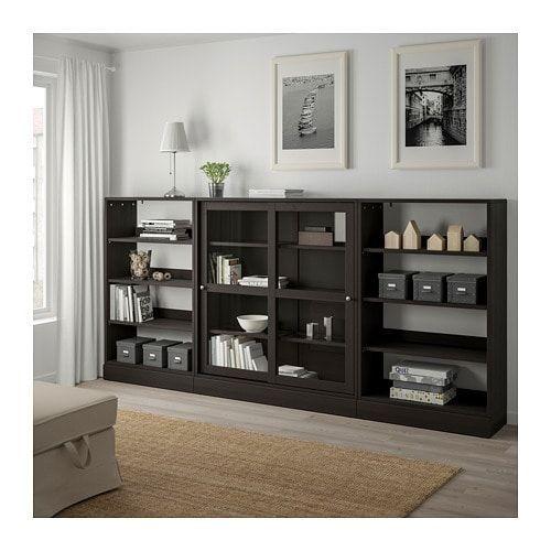 Havsta Storage With Sliding Glass Doors Dark Brown Ikea Minimalist Ev Dekor Kitapliklar