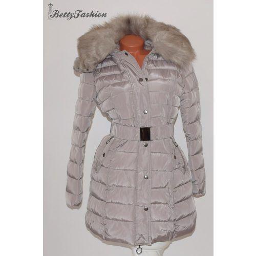 Szürkésbarna szőrme bélelt téli kabát M, L, XL, XXL | Winter