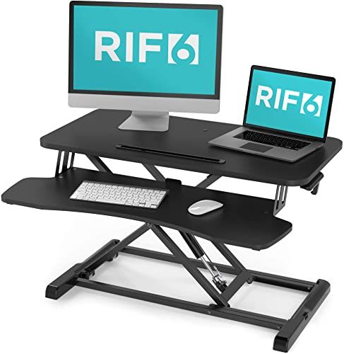 The Rif6 Adjustable Height Standing Desk Converter 32 Inch Wide Laptop Riser Dual Monitor Workstation Easily Sit Stand Gas Spring Lift Black Online Sho In 2020 Adjustable Height