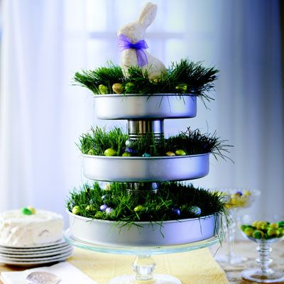 Lovely Easter Decor... make with cake pans and tin cans