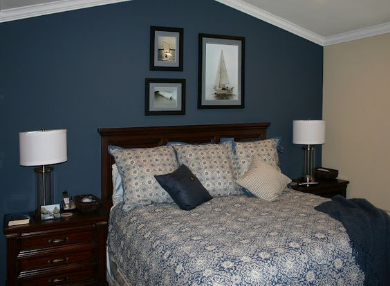 dark blue accent wall we could do this in our master for the home pinterest furniture. Black Bedroom Furniture Sets. Home Design Ideas