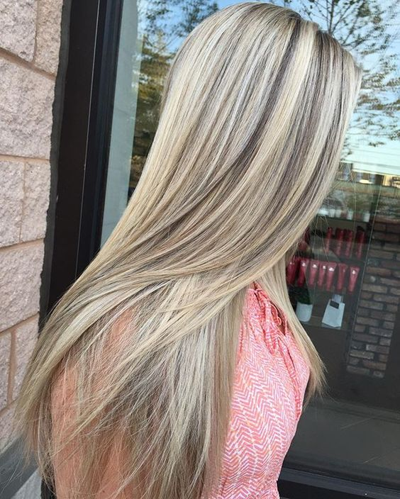 cool light blonde with high contrast blended lowlights.