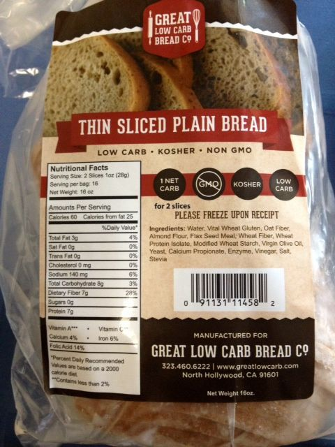 This thin sliced bread is NEUTRAL on all Steps of The Metabolism Miracle and The Diabetes Miracle.  Order on www.LoCarbU.com or www.GLCBC.com.