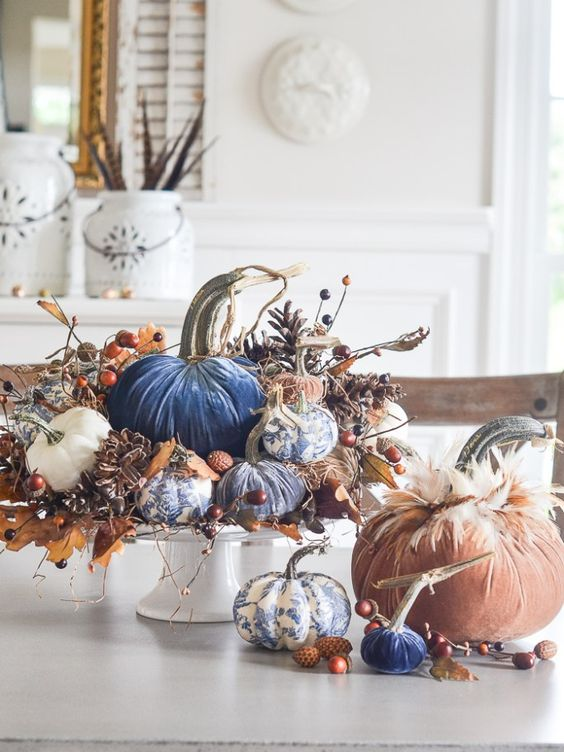 Create one spectacular fall arrangement this year and use velvet pumpkins and a bit of chinoiserie! Fall does not always mean using orange! #fall #pumpkins #chinoiserie #velvetpumpkins #falldecor #falldecorating #lovefeastshop #hotskwash #falldecorinso