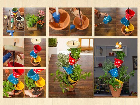 Horta ou floreira vertical com comedouro para passarinhos