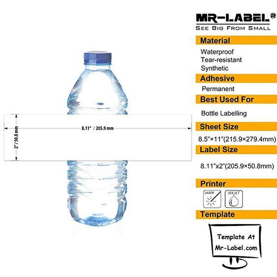 Mr Label 8 11 2 Waterproof Matte White Water Bottle Labels For Inkjet Laser Printer Self Adhesive Wraparound Sheet Labels Label Templates Bottle Labels
