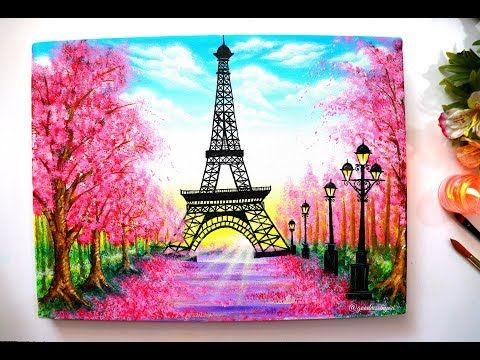 Springtime Cherry Blossom Trees And Eiffel Tower Painting Step