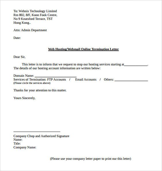 web hosting service termination letter template pdf format gas - letter of termination