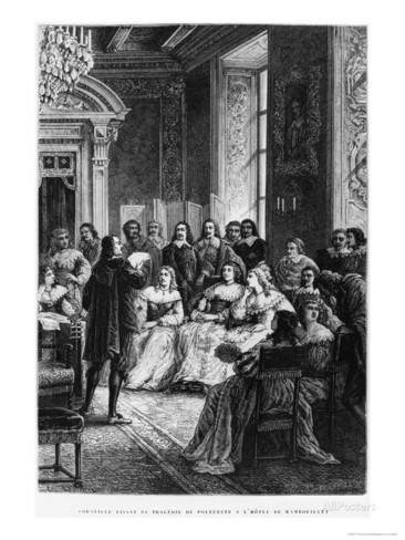 Pierre Corneille Reading Polyeucte à l'Hôtel de Rambouillet, circa 1880.- 7) HÔTEL DE RAMBOUILLET: Ce phénomène qui est davantage une forme de modernisme et de féminisme que de pédanterie, durera une trentaine d'années. C'est de l'hôtel de Rambouillet que sortiront celles qui s'impliqueront activement dans la Fronde au point d'être qualifiées d'Amazones. Bien que Molière ait tourné en dérision les membres de ce salon, il est indéniable que l'hôtel de Rambouillet a joué un rôle monumental......