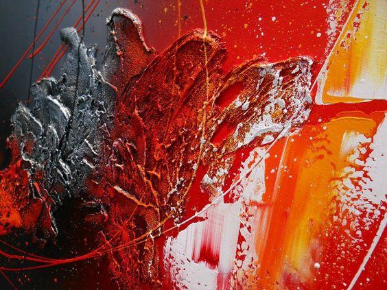 tableau abstrait contemporain hyades peinture moderne acrylique toile en relief noir rouge. Black Bedroom Furniture Sets. Home Design Ideas