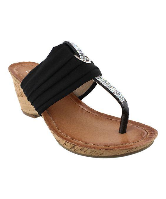 This Liliana Footwear Black Finley Sandal by Liliana Footwear is perfect! #zulilyfinds
