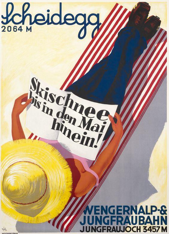 Scheidegg - Jungfraujoch vintage travel poster by Alex Walter Diggelmann, 1931.  ~ 'Skischnee bis in den Mai hinein! / Ski into May!' ~ 'Wengernalp & Jungfraubahn'