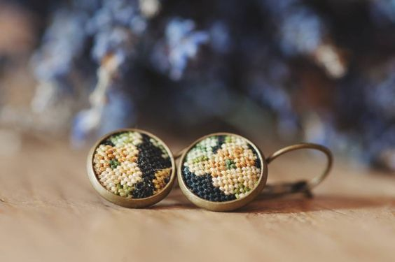 Handmade Floral Earrings with Vintage Embroidery #petit point #embroidery #flowers #earrings #vintage #petit point SOLD