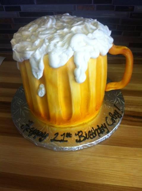 Beer Mug 21st Birthday Cake Birthday Cakes Pinterest