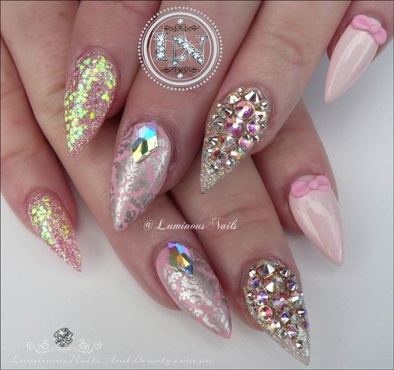 Girly Nails... Pretty in Pink with Bling! Cute Pink Acrylic Nails.