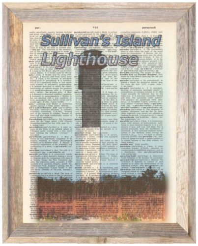 Sullivans-Island-Lighthouse-SC-Altered-Art-Print-Upcycled-Vintage-Dictionary