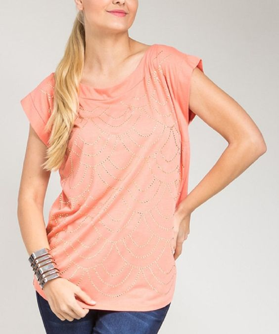 Look at this Coral Embellished Hi-Low Top - Plus on #zulily today!