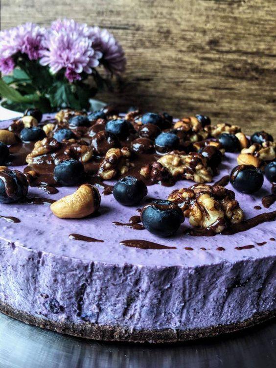 Low Carb Blueberry Cheesecake ein Low Carb Käsekuchen mit Blaubeeren aus der Kategorie Backen ohne Zucker Ein Heidelbeer Kuchen ohen Kohlenhydrate