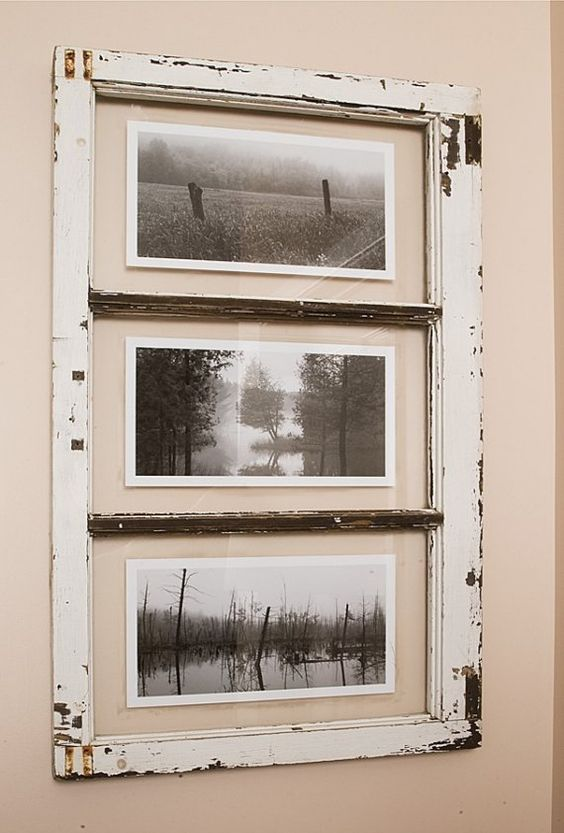 Mists of mille isles landscape photography framed in old for Using old windows as picture frames