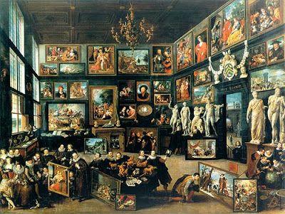 Gabinete de Curiosidades de Cornelis van der Geest, en Amberes, especializado en obras de arte y plasmado por el pintor Van  Haecht, maestro de Rubens.