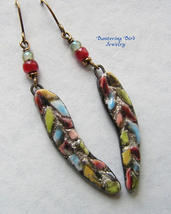Feather Earrings Scorched Earth Ceramic Earrings by BanteringBird