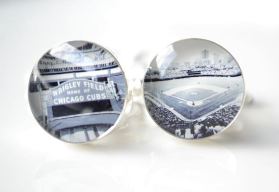 Chicago cubs and Wrigley field photo cufflinks - This would be an AWESOME gift for you to give Dustin if he's wearing a French cuff shirt for the wedding.