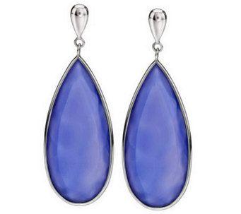 Colors of Chalcedony Elongated Sterling Dangle Earrings - J269604