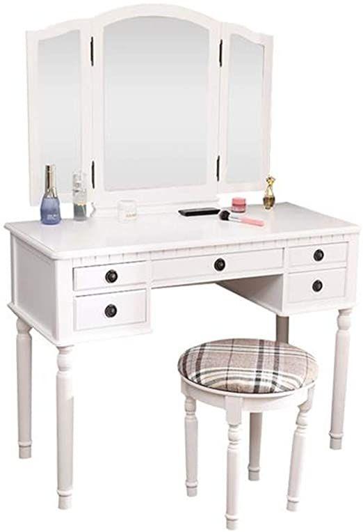 Dressing Table Three Fold Square Mirror Drawer Roman Column Table Stool White In 2020 Vanity Table Set Table Stool Wood Vanity